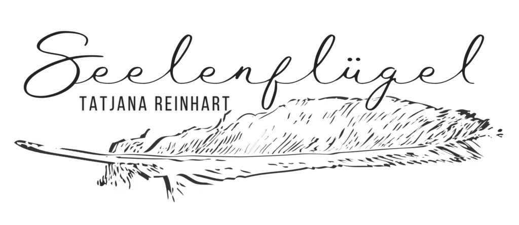 Logo mit leuchtender weißer Feder Aufschrift Seelenflügel Tatjana Reinhart